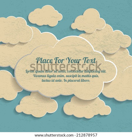Abstract Creative vintage concept vector clouds collection on a blue background - stock vector