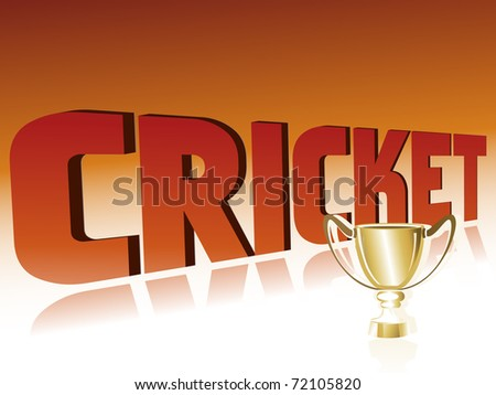 abstract cricket background with isolated golden trophy, illustration - stock vector