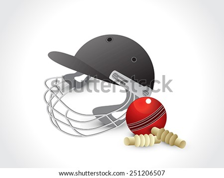 abstract cricket elements with helmet vector illustration - stock vector