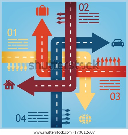 abstract crossroads presentation template for travel statistics - stock vector