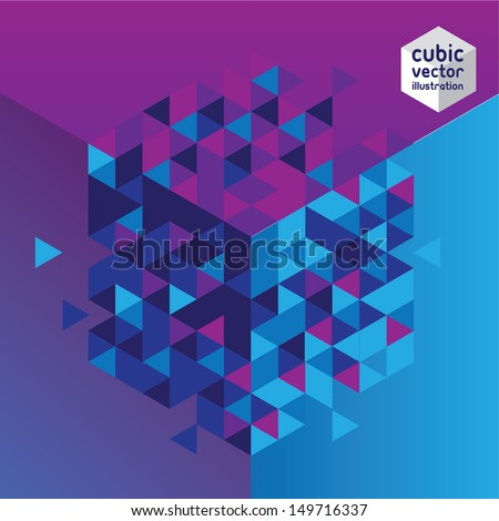Abstract cube blue and purple design background. Layered file - stock vector