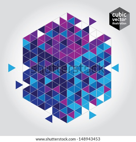 Abstract cube blue and purple design element. Layered file - stock vector