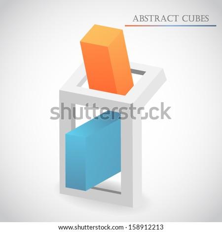 abstract cube 3d vector - stock vector