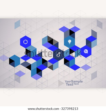 Abstract Cube Design Template blue - stock vector