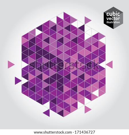 Abstract cube mosaic background design element. Orchid, pink and purple cubic geometric background. Layered file. Orchid - color of the year 2014 - stock vector