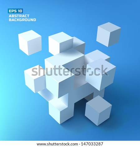 Abstract cubes. Background. Vector Illustration, eps10, contains transparencies. - stock vector