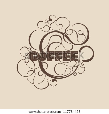 Abstract curly coffee label. Vector element for design. - stock vector