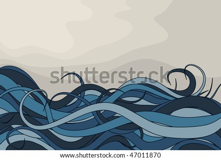 Abstract curly wave storm background - stock vector