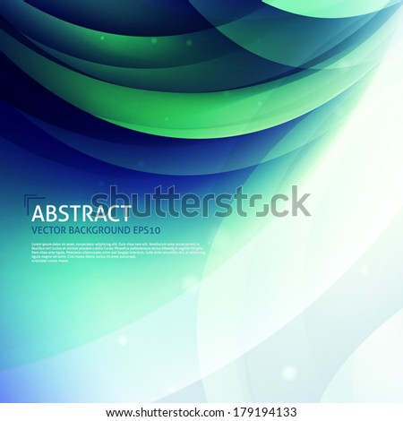 Abstract curves background. Green, blue, white colors - stock vector