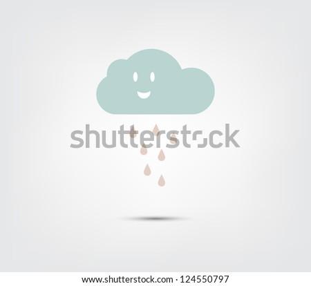 Abstract cute cartoon cloud illustration icon - stock vector
