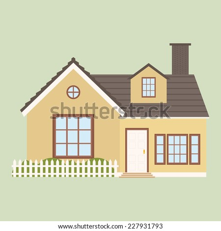 abstract cute house on a light green background - stock vector