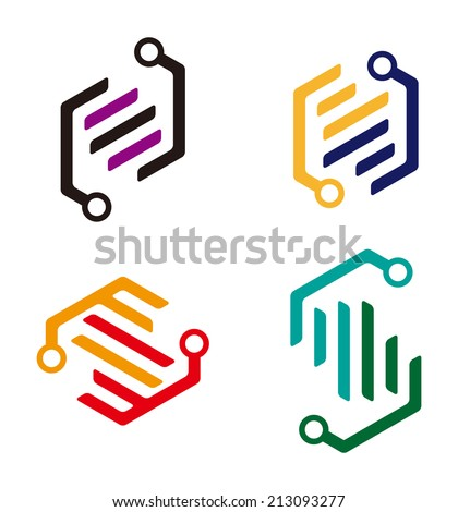 """Abstract cute logo element. Colorful digital icon set. """"N"""", """"S"""", """"Z"""" letters icon set. You can use in the machine, chips, electronics, and communication concept of pattern.  - stock vector"""
