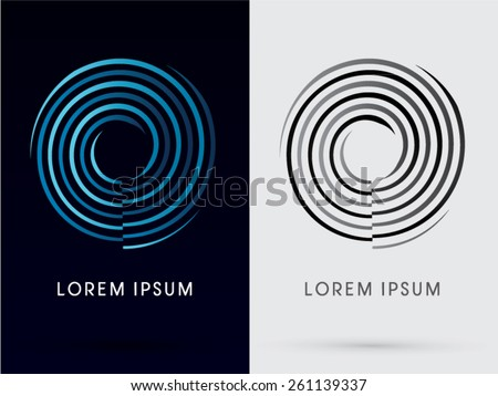 Abstract , Cycle spin, Wheel, swirl, O, zero, water, tornado, designed using blue and black line ,logo, symbol, icon, graphic, vector. - stock vector