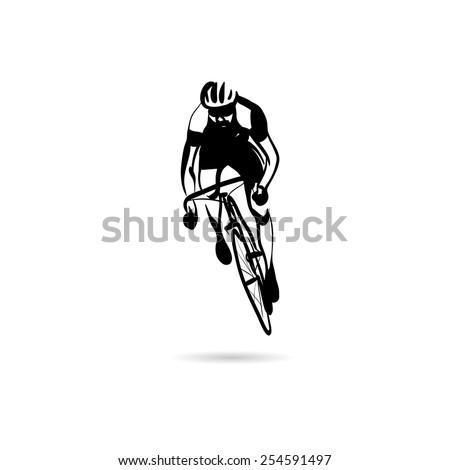 Abstract cyclist vector design concept - stock vector