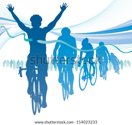 Abstract Cyclist winning the race against competitors.  - stock vector