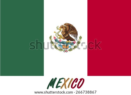 Abstract 3D background of Mexico flag, a conceptual design of the Mexican flag with its name colored with the flag colors - stock vector