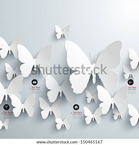 Abstract 3D Butterflies Design - stock vector