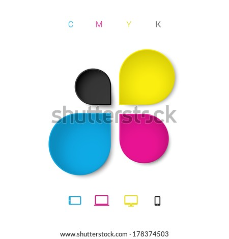 Abstract 3d CMYK drop shapes infographic template with cloud computing icon set  - stock vector