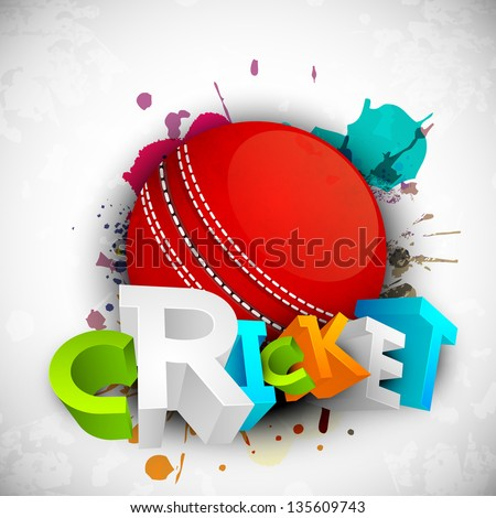 Abstract 3D colorful text Cricket with ball on grungy colorful background. - stock vector