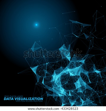 Abstract 3D Data Visualization Background with Connecting Dots and Lines | EPS10 Vector Illustration - stock vector