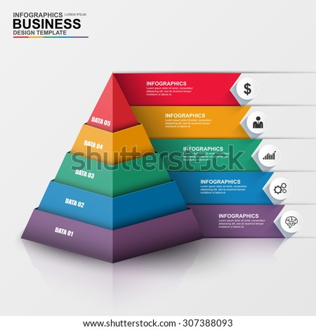 Abstract 3D digital business Infographic. Can be used for workflow process, business pyramid, banner, diagram, number options, work plan, web design. - stock vector
