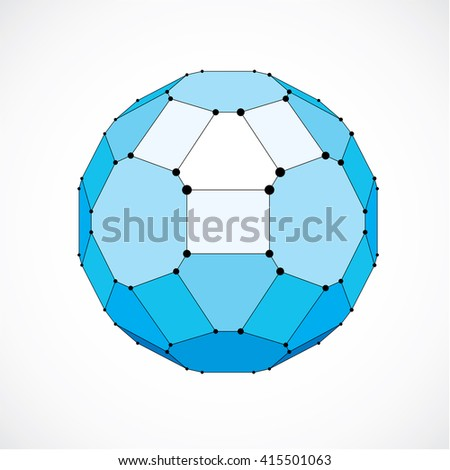 Abstract 3d faceted figure with connected black lines and dots. Vector low poly blue design element created with squares and pentagons. Cybernetic orb shape with grid and lines mesh. - stock vector