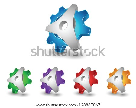 Abstract 3d gear icons - stock vector