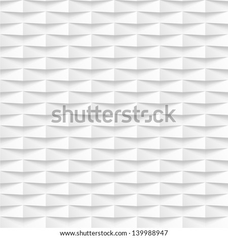 Abstract 3d geometric background. White seamless texture with shadow. Simple clean background texture. 3D Vector interior wall panel pattern. - stock vector