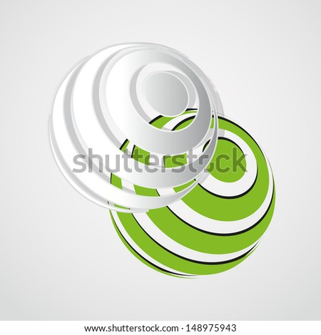 Abstract 3D Geometrical Design - ball on green background - stock vector