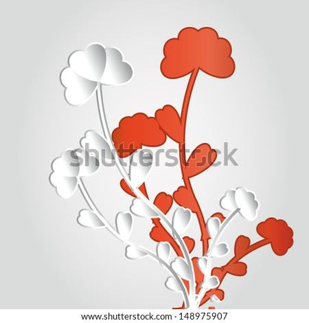Abstract 3D Geometrical Design - flower on red background - stock vector
