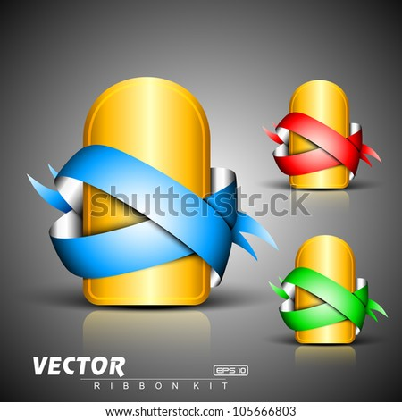 Abstract 3D glossy  golden icon sets with blue, green or red ribbons, isolated on grey with text space.EPS 10. can be use as icons, element, banner or background. - stock vector