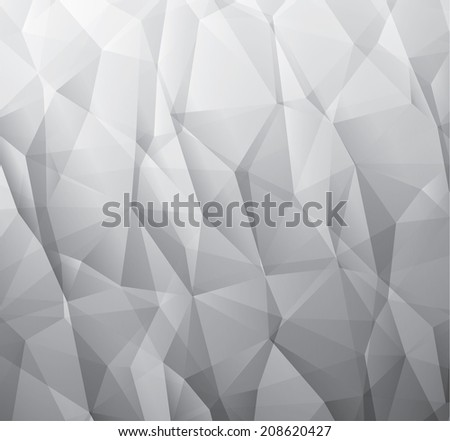 Abstract 3d gray vector background made from triangles - stock vector