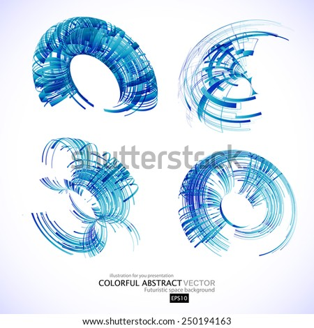 Abstract 3d icon set with blue ribbon elements. Design elements with spiral motion. - stock vector