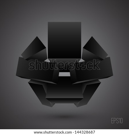 Abstract 3d illustration. Futuristic shape. Technology design - stock vector