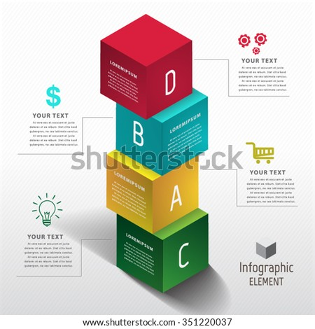 Abstract 3D Modern template vector banner infographics. - stock vector