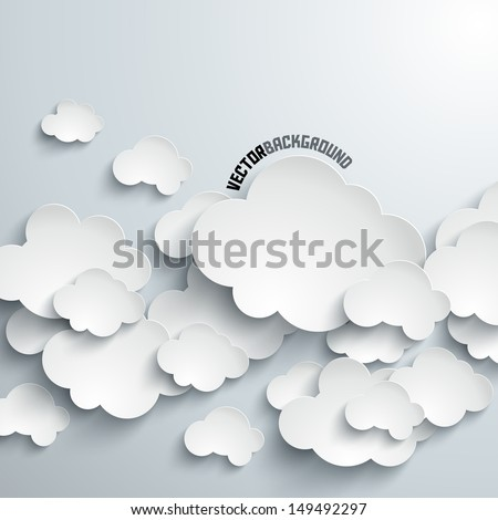 Abstract 3D Paper Clouds - stock vector