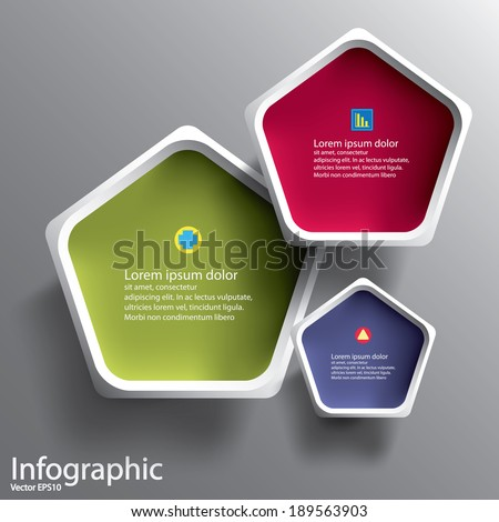 Abstract 3D Paper Graphics for use as illustration or background, Pentagon - stock vector