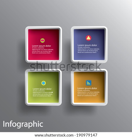 Abstract 3D Paper Graphics for use as illustration or background, square with round corner - stock vector