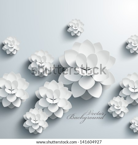 Abstract 3D Paper Lotus - stock vector