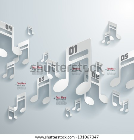 Abstract 3D Paper Melodies - stock vector