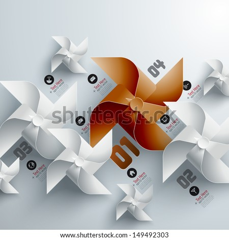 Abstract 3D Paper Windmills - stock vector