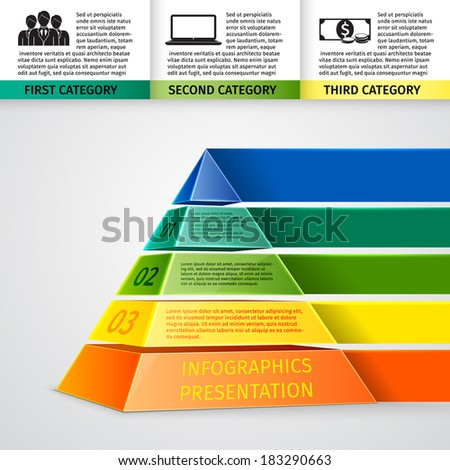 Abstract 3d pyramid infographics design template with title categories and progress options vector illustration - stock vector