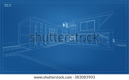 Abstract 3D render of building wireframe structure. - stock vector