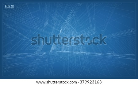 Abstract 3D render of building wireframe structure. Vector architectural construction graphic idea. - stock vector
