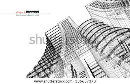 Abstract 3D render of building wireframe structure. Vector construction graphic idea for template design. - stock vector