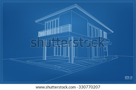 Abstract 3D render of building wireframe structure. Vector house construction graphic idea. - stock vector