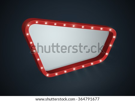 Abstract 3D retro light banner/signboard with light bulbs on the contour. Isolated on black background. Vector illustration, eps 10. - stock vector