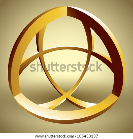 Abstract 3D shape made of curves, vector abstract icon. - stock vector