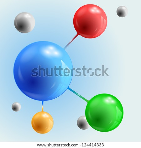 Abstract 3d spheres connected - stock vector