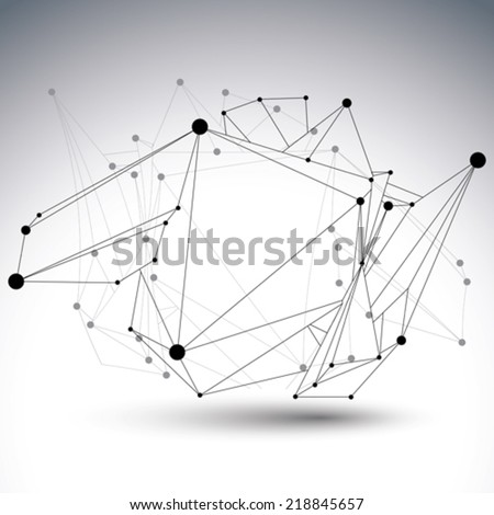 Abstract 3D structure polygonal vector network object, black and white mesh deformed figure. - stock vector